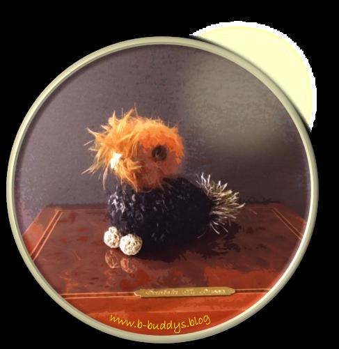 Pook sitzt auf Schmuckkästchen mit Messingtafel