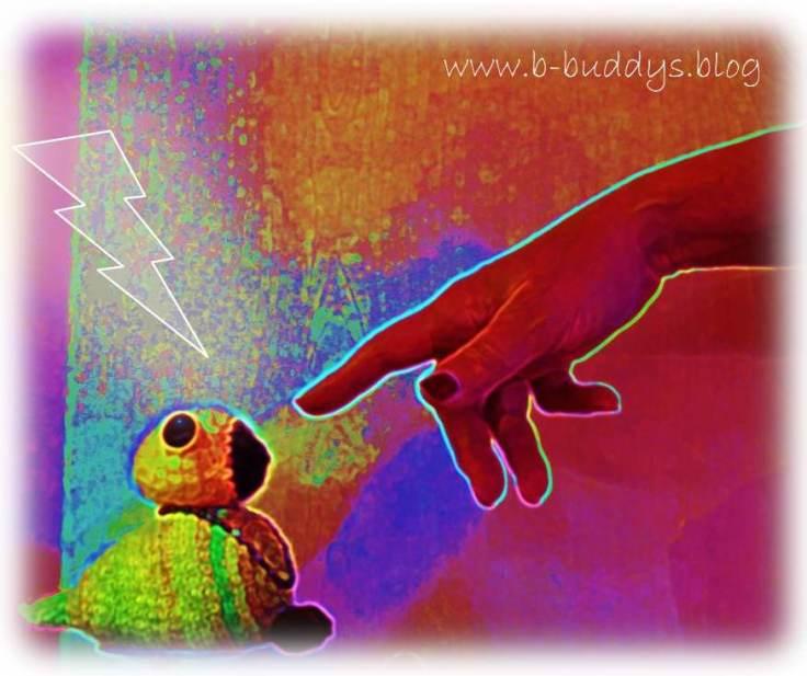 Schaffung des ersten Bürzel-Buddies durch Fingerzeig. Symbolik analog